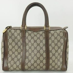 100% AUTH GUCCI VINTAGE GG PVC LEATHER HAND BAG